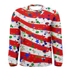 Confetti Star Parade Usa Lines Men s Long Sleeve Tee