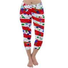 Confetti Star Parade Usa Lines Capri Winter Leggings
