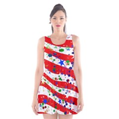 Confetti Star Parade Usa Lines Scoop Neck Skater Dress