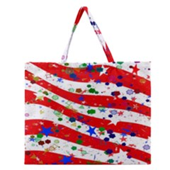 Confetti Star Parade Usa Lines Zipper Large Tote Bag
