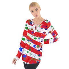Confetti Star Parade Usa Lines Women s Tie Up Tee