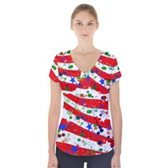 Confetti Star Parade Usa Lines Short Sleeve Front Detail Top