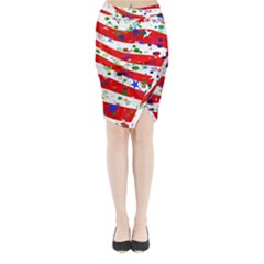 Confetti Star Parade Usa Lines Midi Wrap Pencil Skirt