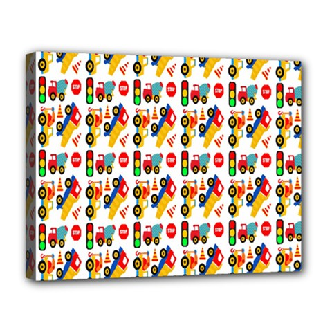 Construction Pattern Background Canvas 14  x 11