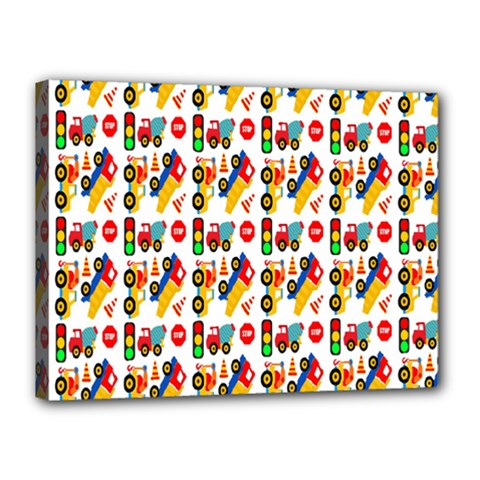Construction Pattern Background Canvas 16  x 12