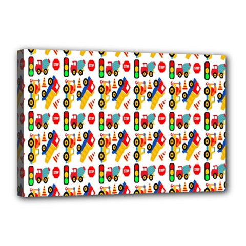 Construction Pattern Background Canvas 18  x 12