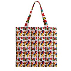 Construction Pattern Background Zipper Grocery Tote Bag