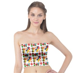 Construction Pattern Background Tube Top