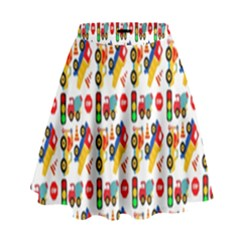 Construction Pattern Background High Waist Skirt