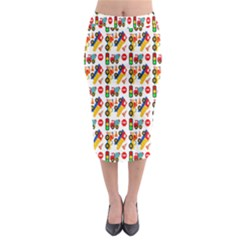Construction Pattern Background Midi Pencil Skirt