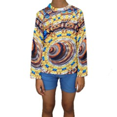 Complex Fractal Chaos Grid Clock Kids  Long Sleeve Swimwear