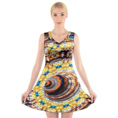 Complex Fractal Chaos Grid Clock V Neck Sleeveless Skater Dress