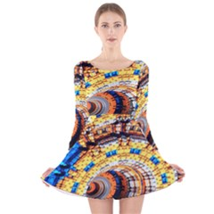 Complex Fractal Chaos Grid Clock Long Sleeve Velvet Skater Dress