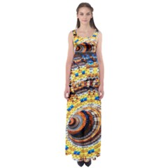 Complex Fractal Chaos Grid Clock Empire Waist Maxi Dress
