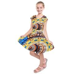 Complex Fractal Chaos Grid Clock Kids  Short Sleeve Dress