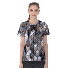 Cube Design Background Modern Women s Cotton Tee