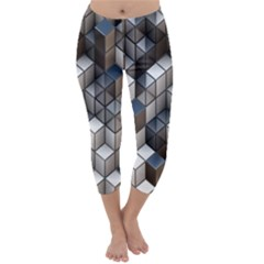 Cube Design Background Modern Capri Winter Leggings