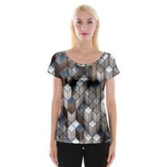 Cube Design Background Modern Women s Cap Sleeve Top