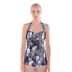 Cube Design Background Modern Boyleg Halter Swimsuit