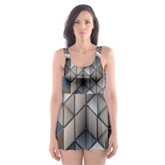Cube Design Background Modern Skater Dress Swimsuit