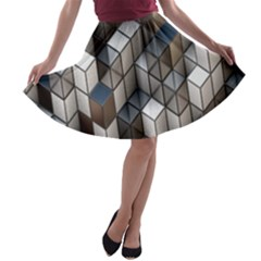 Cube Design Background Modern A-line Skater Skirt