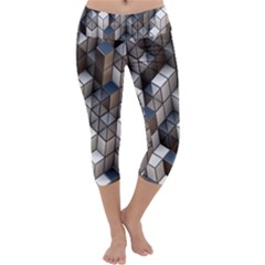 Cube Design Background Modern Capri Yoga Leggings