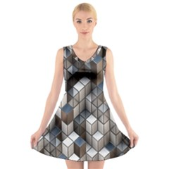 Cube Design Background Modern V Neck Sleeveless Skater Dress