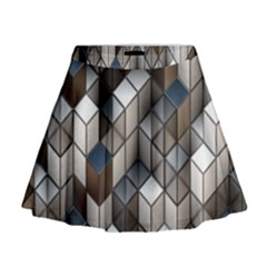 Cube Design Background Modern Mini Flare Skirt
