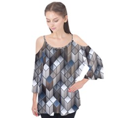 Cube Design Background Modern Flutter Tees