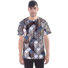 Cube Design Background Modern Men s Sport Mesh Tee