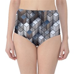 Cube Design Background Modern High Waist Bikini Bottoms