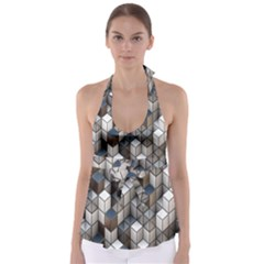 Cube Design Background Modern Babydoll Tankini Top
