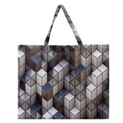 Cube Design Background Modern Zipper Large Tote Bag