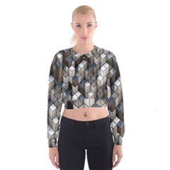 Cube Design Background Modern Women s Cropped Sweatshirt