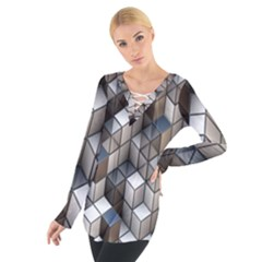 Cube Design Background Modern Women s Tie Up Tee