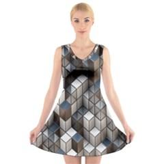 Cube Design Background Modern V-Neck Sleeveless Skater Dress