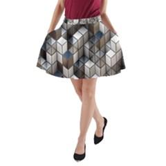 Cube Design Background Modern A-Line Pocket Skirt