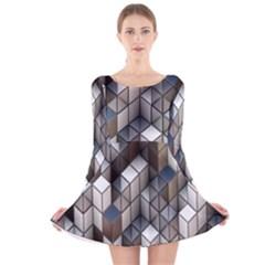 Cube Design Background Modern Long Sleeve Velvet Skater Dress
