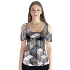 Cube Design Background Modern Butterfly Sleeve Cutout Tee