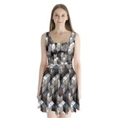 Cube Design Background Modern Split Back Mini Dress