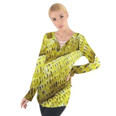 Corn Grilled Corn Cob Maize Cob Women s Tie Up Tee