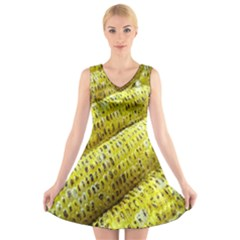 Corn Grilled Corn Cob Maize Cob V Neck Sleeveless Skater Dress