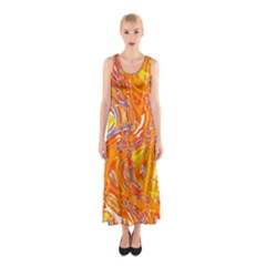 Crazy Patterns In Yellow Sleeveless Maxi Dress