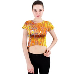 Crazy Patterns In Yellow Crew Neck Crop Top
