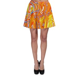 Crazy Patterns In Yellow Skater Skirt