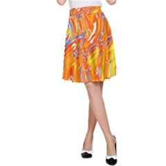 Crazy Patterns In Yellow A Line Skirt