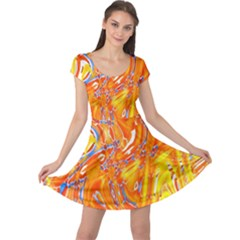 Crazy Patterns In Yellow Cap Sleeve Dresses