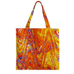 Crazy Patterns In Yellow Zipper Grocery Tote Bag