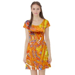 Crazy Patterns In Yellow Short Sleeve Skater Dress