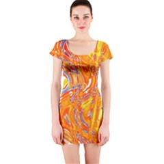 Crazy Patterns In Yellow Short Sleeve Bodycon Dress